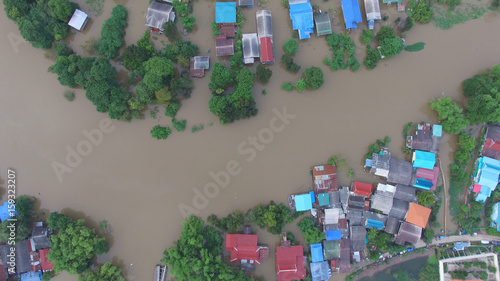 Fotobehang Thailand Aerial view of flood