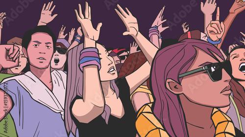 Fototapeta samoprzylepna Illustration of people partying in color