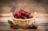Fresh cherries in the basket