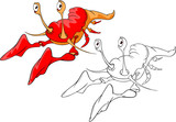 Illustration of Red Lobster. Cartoon Character Coloring Book