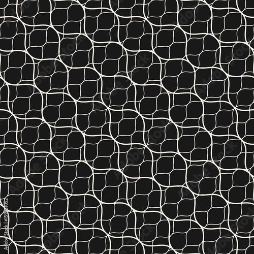 Vector seamless pattern, thin diagonal wavy lines. Subtle texture of mesh, fishnet, lace, weaving, delicate grid. Dark monochrome geometric background. Elegant design for decor, covers, digital, web