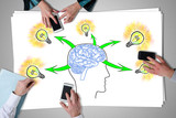 Human brain ideas concept placed on a desk
