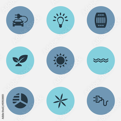 Vector Illustration Set Of Simple Power Icons. Elements Cask, Automobile Fuel, Naval And Other Synonyms Blossom, Bulb And Chart.