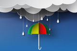 paper art of colorful umbrella with rainy season,blue sky,vector