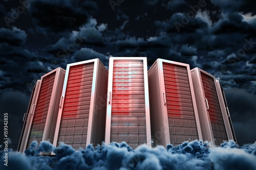 Composite image of server towers