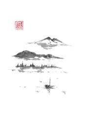 Japanese style sumi-e mountain lake ink painting. © msokolyan