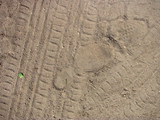 Abstract tire tracks on sand. Background and texture