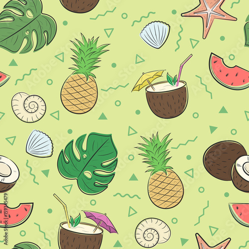 Seamless summer pattern with pineapple, coconut, palm leaves and seashells