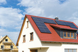 roof of a new house with solar or photovoltaik modul - 159350077
