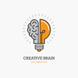 Logo with a half of light bulb and brain