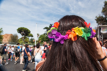 Colorful flower crown symbol of peace