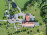 Aerial view of farm building