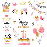 Birthday party icon set in pink, black and golden colors. Vector hand drawn illustration - 159370823