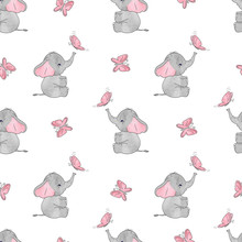 Seamless pattern with cute elephants and butterflies. Vector background for kids design. Baby print.