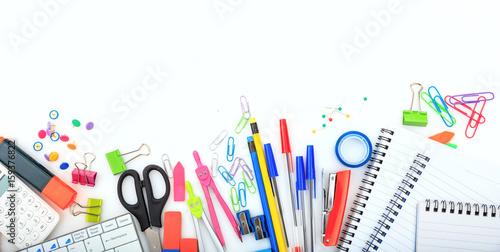 Fototapeta Office - school supplies on white background