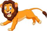 Cartoon happy lion running