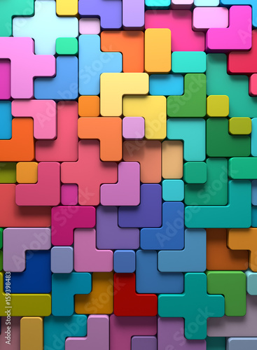 3D rendering abstract background of multi-colored rounded shapes