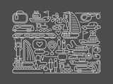 Travel line art vector illustration