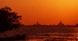 Sunset view of the stupa. Sri Lanka