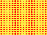 Fototapety Red dots on a yellow background. Pop Art pattern. Vector illustration