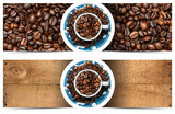 Banners with Roasted Coffee Beans and Cup