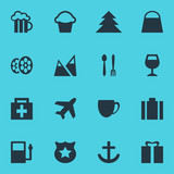 Vector Illustration Of 16 Map Icons. Editable Pack Of Drugstore, Aircraft, Anchor And Other Elements.