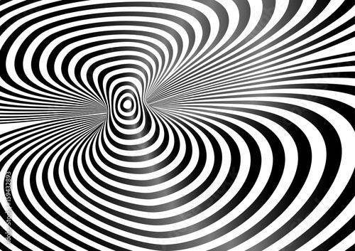 Fototapeta Vector op art pattern. Optical illusion abstract background.