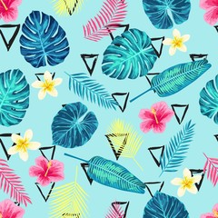 Seamless Tropical Exotic Palm Leaves Pattern.