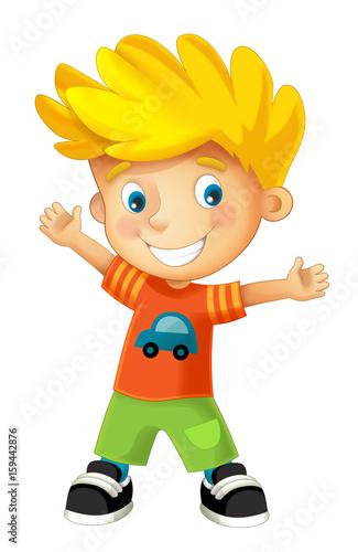 cartoon happy boy - illustration for children - 159442876