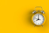 Alarm clock on yellow background, 3D rendering - 159446085