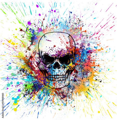 Fotobehang Reznik Рисованный симметричный череп с гранж красочным узором