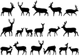 Collection of silhouettes of wild animals - the deer family - 159449453