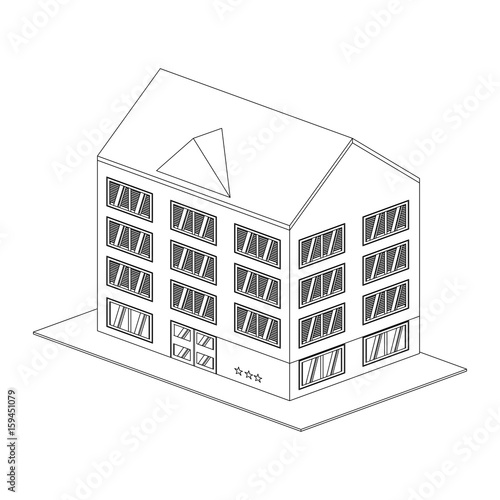 Building hotel tourism icon vector illustration graphic design