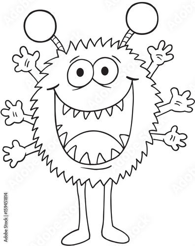 In de dag Cartoon draw Silly Monster Vector Illustration Art