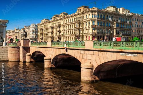 Old Anichkov bridge in Saint Petersburg, Russia.
