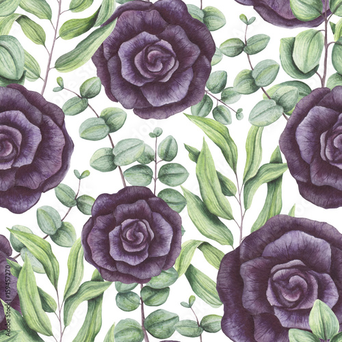 Seamless Pattern of Watercolor Leaves and Black Roses - 159457270