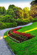 Green park in summer, villa Carlotta, Como lake, Italy.