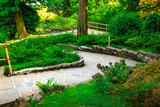 Footpath in the green park, villa Carlotta, Como lake, Italy.