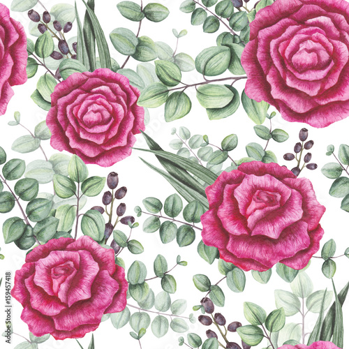 Seamless Pattern of Watercolor Bouquets with Roses, Berries and Light Green Leaves - 159457418
