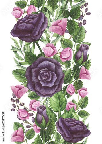 Seamless Border of Watercolor Black Roses and Pink Flowers - 159457437
