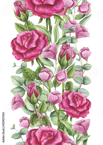 Seamless Border of Watercolor Roses and Light Pink Flowers - 159457454