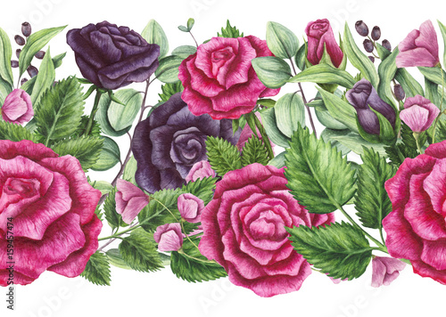 Seamless Border of Watercolor Pink and Violet Roses - 159457474