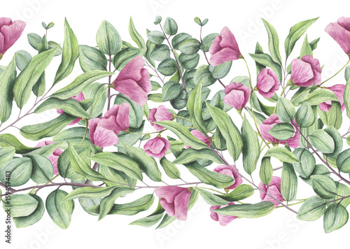 Seamless Border of Watercolor Flowers and Eucalyptus - 159457483