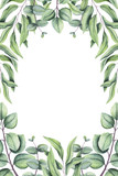 Hand Drawn Floral Frame with Watercolor Foliage - 159457699