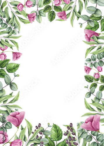 Frame with Watercolor Green Leaves and Flowers