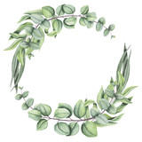 Herbal Wreath with Watercolor Eucalyptus and Leaves - 159457897