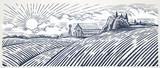 Rural landscape with a farm in engraving style. Hand drawn and converted to vector Illustration - 159461093