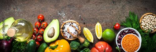 Vegetarian food background.