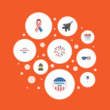 Flat Icons Awareness, Firecracker, Holiday And Other Vector Elements. Set Of Memorial Flat Icons Symbols Also Includes Memorial, Aircraft, Soldier Objects. - 159463876