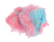 Pink and blue cotton candy clumps isolated on a white background.